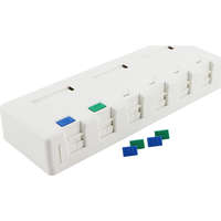 Excel Category 6 Plus Surface Mount Box - 6 Port - White