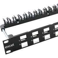 Excel Unloaded Keystone Patch Panel Frame - 24-port, Angled, 1U - Black