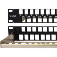 Excel Unloaded Keystone Patch Panel Frame - 48-port, Unscreened, 1U - Black