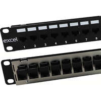 Excel Category 5e Unscreened Through Coupler Patch Panel - 24-port, 1U - Black