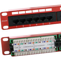 Excel Category 5e Unscreened Patch Panel - 24-port, 1U - Red