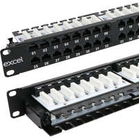 Excel Category 5e Unscreened Patch Panel - 48-port, Right-angled, 1U - Black