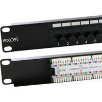 Excel Category 5e Unscreened Patch Panel - 16-port, 1U - Black