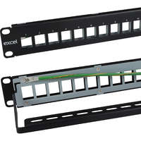 "Excel 10"" Unloaded Keystone Patch Panel Frame - 12-port - Black"
