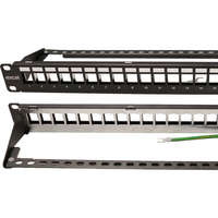 Excel Unloaded Keystone Patch Panel Frame - 24-port, Screened, 1U - Black