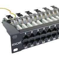 Excel Voice RJ45 Patch Panel - 25-port, 3-pair, 1U - Black