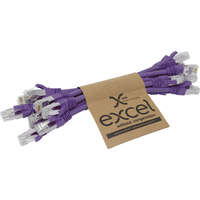 Excel Category 6A Patch Lead S/FTP Shielded LS0H Blade Booted 215mm - Violet (10-pack)