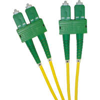 Enbeam OS2 Fibre Optic Patch Lead SC/APC-SC/APC Singlemode 9/125 Duplex LS0H Yellow 2m