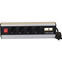 Excel Desktop Power Distribution Unit - 4x Schuko sockets, 2x 6C aperture